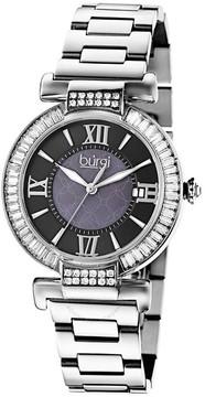 Burgi Black Dial Stainless Steel Bracelet Ladies Watch