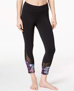 Gaiam Om Lena Printed Mesh-Trimmed Capri Leggings