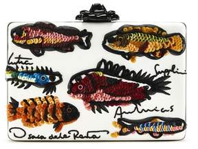 Oscar de la Renta Fish Embroidered Leather Rogan Clutch