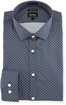 Neiman Marcus XTrim-Fit Regular-Finish Poplin Dress Shirt, Dark Gray