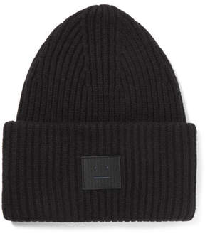 Acne Studios Pansy Appliquéd Ribbed Wool-blend Beanie - Black