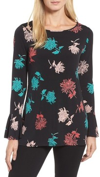 Chaus Women's Bell Sleeve Imperial Bloom Top