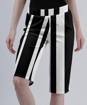 Lily Black & White Stripe Bermuda Shorts - Women & Plus