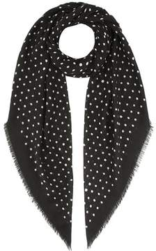 Saint Laurent Polka-dotted wool scarf