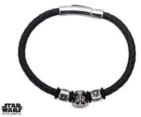 Star Wars Men's Stainless Steel Stormtrooper & Galactic Empire Symbol Bead Charm Leather Bracelet