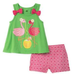 Kids Headquarters Little Girl's Flamingo Shirt and Short Set