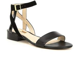 Louise et Cie Akella Patent Leather and Suede Block Heel Sandals