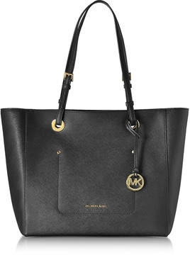 Michael Kors Walsh Large Black Saffiano Leather EW Top-Zip Tote - BLACK - STYLE