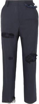 Facetasm Distressed Pinstriped Gabardine Straight-leg Pants - Navy