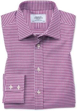 Charles Tyrwhitt Classic Fit Large Puppytooth Berry Cotton Dress Shirt Single Cuff Size 16/34