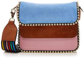 Les Petits Joueurs Bibi Tricolor Shoulder Bag with Leather and Suede