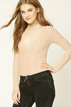 Forever 21 Sheer Lace-Up Bodysuit