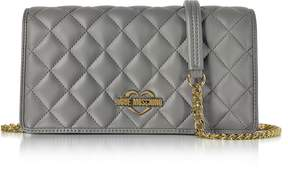 Love Moschino Grey Superquilted Eco-Leather Clutch w/Shoulder Strap