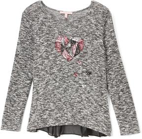 Celebrity Pink Charcoal Gray Heart Sheer-Underlay Long-Sleeve Top - Girls