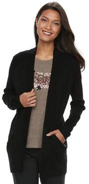 Apt. 9 Women's Zip Pocket Open-Front Cardigan