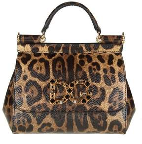 Dolce & Gabbana Minibag Sicily In Leopard Print Leather With Logo In C - NATURAL - STYLE