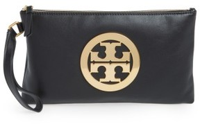 Tory Burch Charlie Suede Wristlet Clutch - Black - BLACK - STYLE