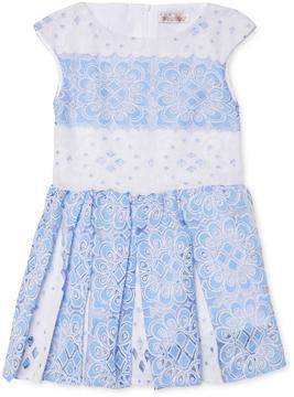 Halabaloo Wide Stripe Pleat Front Lace Dress