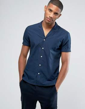 Esprit Short Sleeve Shirt In Slim Fit With Cuban Collar