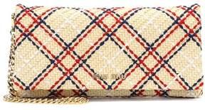 Miu Miu Embroidered straw shoulder bag