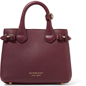 Burberry Mini Textured-leather And Checked Twill Tote - Burgundy - BURGUNDY - STYLE