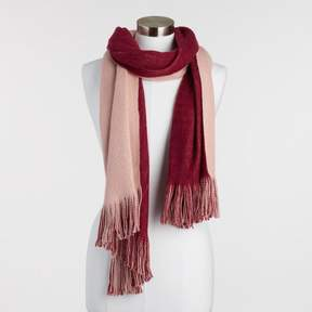World Market Wine and Blush Reversible Knit Scarf