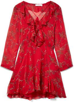 IRO Lucine Ruffled Printed Gauze Mini Dress - Red