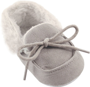 Luvable Friends Gray Cozy Fleece Moccasin - Boys