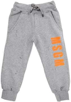 MSGM Vintage Effect Logo Cotton Sweatpants