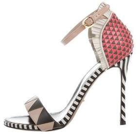 Sergio Rossi Patterned Ankle Strap Sandals