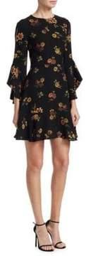 A.L.C. Cassidy Silk Ruffle Bell-Sleeve Mini Dress
