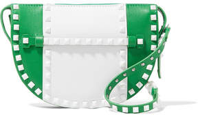 Valentino Garavani The Rockstud Two-tone Leather Shoulder Bag - Green