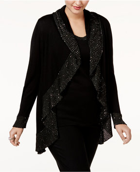 Belldini Plus Size Sequined Cardigan Twin Set