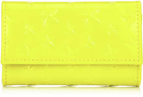 Jimmy Choo HOWICK Acid Neon Patent Leather Key Holder with Embossed Stars