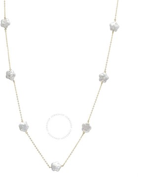 Bella Pearl 10K Gold Floating White Coin Pearl Necklace