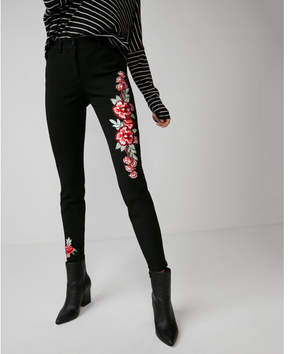 Express mid rise extreme stretch floral embroidered leggings