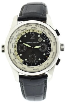 Girard Perregaux World Time 49800 Platinum & Leather Black Dial Automatic 43mm Mens Watch