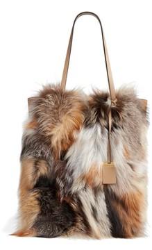 Michael Kors Large Elenor Genuine Fox Fur Tote - Brown - BROWN - STYLE