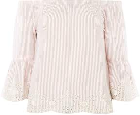 Dorothy Perkins Blush Striped Broderie Bardot Top