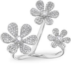 Anne Sisteron White Gold Diamond Floating Triple Daisy Flower Ring