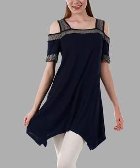 Lily Navy & Gray Crochet Cutout Tunic - Women