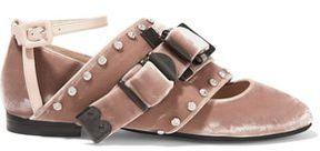 N°21 N° 21 Leather-Trimmed Crystal-Embellished Velvet Ballet Flats