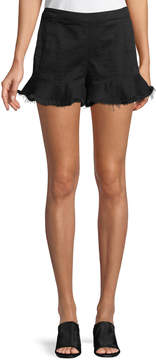 Blank NYC Ruffled Raw-Edge Denim Shorts