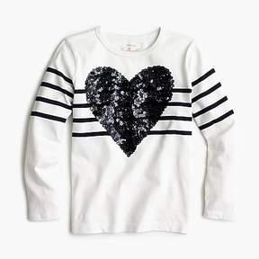 J.Crew Girls' sequin heart T-shirt in stripe