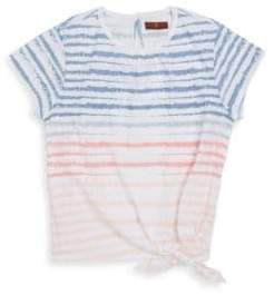 7 For All Mankind Girl's Stripe Front Tie Tee