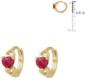 Ice 14K Gold Baby Heart Huggie Hoop Earrings For Girls
