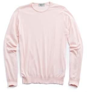 John Smedley Sweaters Hatfield Cotton Crewneck Sweater in Pink