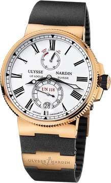 Ulysse Nardin Marine Chronometer Manufacture White Dial Black Rubber Men's Watch