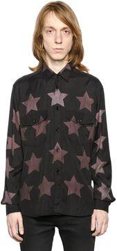 Stars Print Cotton Blend Oversized Shirt