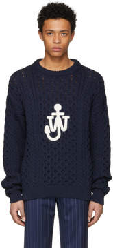 J.W.Anderson Navy Cable Knit Logo Sweater